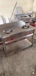 Steel Two Burner Range, For LPG Gas Stove, Size: 48*24*34