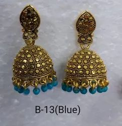 Pink blue green white jhumkhi earrings