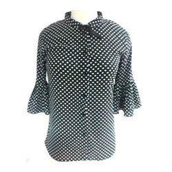 Ladies Georgette Designer Polka Dot Printed Shirt, Size: S, M & L