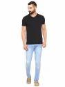 Men Sky Blue Cotton Jeans