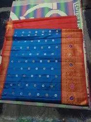 Wedding Wear Printed Slik Gadwal Saree