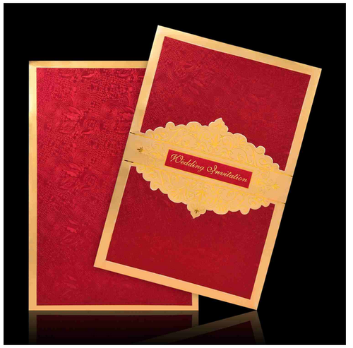 Beautiful Red Color With Gold Border Wedding Card