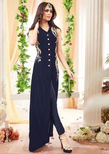 3693737e64 Georgette Stylish Party Wear Blue Color Anarkali Suit, Rs 2299 ...