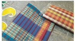 Ladies Cotton Check Banarasi Saree