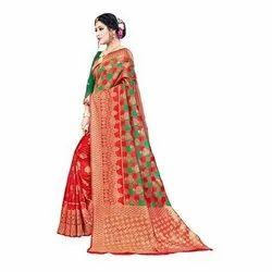AK Enterprises 6.3 m (with blouse piece) Festive Wear Silk Cotton Banarasi Saree, Machine Made