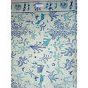 Cotton Blue And White Printed Madhubani Printed Fabric, For Garments