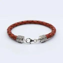 Men's Silver Leather Bracelet