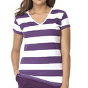 Clifton Womens Bold Stripes Half Sleeve V-Neck T-Shirt
