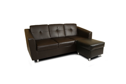 Adorn India Orchid Modular Sofa Set Leatherette (Black)