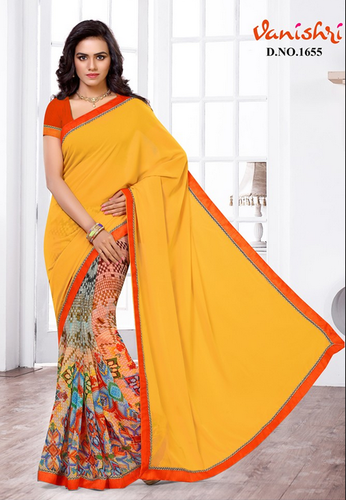4aea1560c81 Yellow Colour Pure Georgette Printed Half Saree at Rs 1100  piece ...