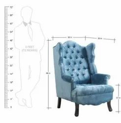 Modern Blue Designer Wooden Wing Armchair, Back Style: Tight Back, 48 X 30 X 30 Inch