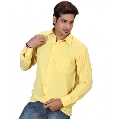 4dd528d94 Cotton Linen Plain Yellow Formal Shirt