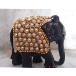 Wooden Meena Elephant with Beads Work