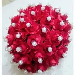 Artificial Red Flower Bun