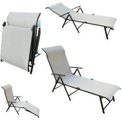 Folding Pool Lounger - Metal - Beige