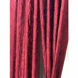 Polyester Maroon Plain Readymade Curtains, For Window and Door, Size: 4x7 Feet