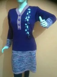 Party Wear Straight Ladies Woolen Kurti, Size: S-XXL, Handwash