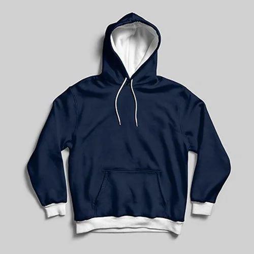 b5ce037bc174 Mens Cotton Plain Navy Blue Hooded Sweatshirt