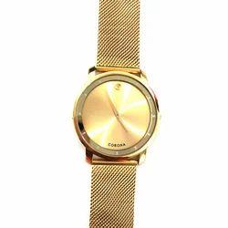 Corona SS Golden Wrist Watch