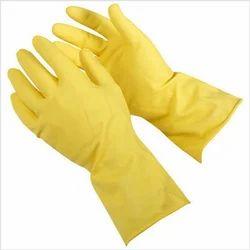 Plain Yellow PVC Hand Gloves, Industrial