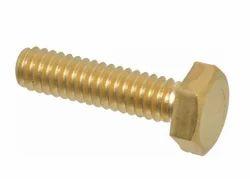 Silver Hexagonal Brass Hex Bolts, For Industrial
