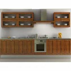 Plywood Straight Modular Kitchen, Warranty: 5-10 Years