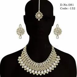 Antique Stone Studded Pearl Necklace Set