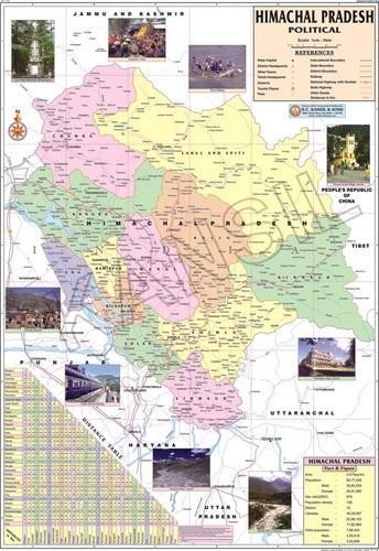 detailed himachal pradesh political map Multicolor Printed Paper Laminated Himachal Pradesh For Political detailed himachal pradesh political map