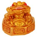Kesar Zems Fiber Vastu Feng Shui Frog Figurine (4 cm x 4 cm x 4 cm, Gold)