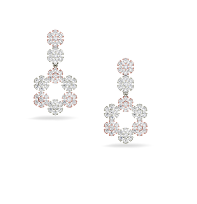 Flower Shaped Diamond Earrings