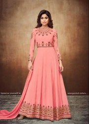 Shamita Shetty Coral Pink Embroidered Anarkali Suit