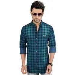 Mens Cotton Denim Full Sleeves Check Shirt