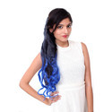 25 Inch Blue Black Mix Curly Hair Extension
