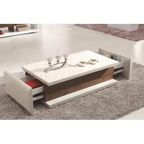 White Wooden Center Table With Storage Rack