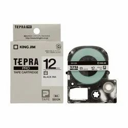 Tepra Label Tape SS12KW Pro Cartridge 12mm Black on White