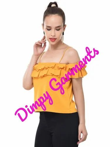 eff6f32b5349d Yellow Crepe Off-Shoulder Top For Women