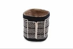 Black Cotton Jute Boho Style Plant Holder Basket