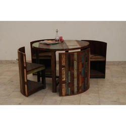 Recycled Wooden Dining Table With 4 Chairs