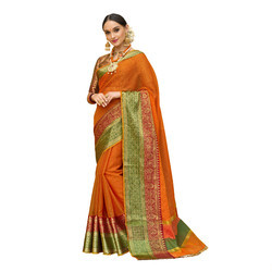 Orange & Green Colored Festive Wear Cotton Silk Saree