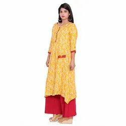 Yellow And Red Rayon Kurti