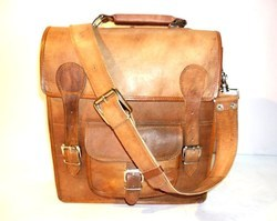 Leather Satchel Bag with Front Pocket