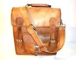Leather Satchel Bag with Front Pocket