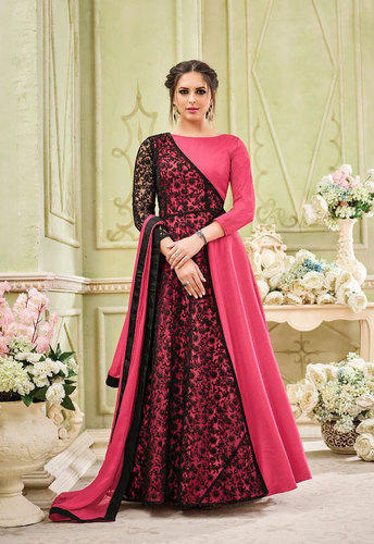 ba7c6cc9d2 Georgette Semi-Stitched Pink Embroidered Floor Length Dresses, Rs ...