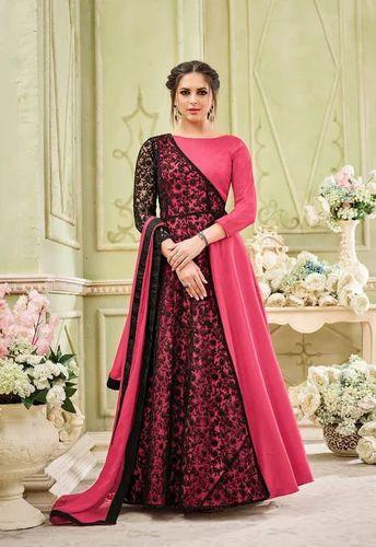 e513ec61e1af Georgette Semi-Stitched Pink Embroidered Floor Length Dresses