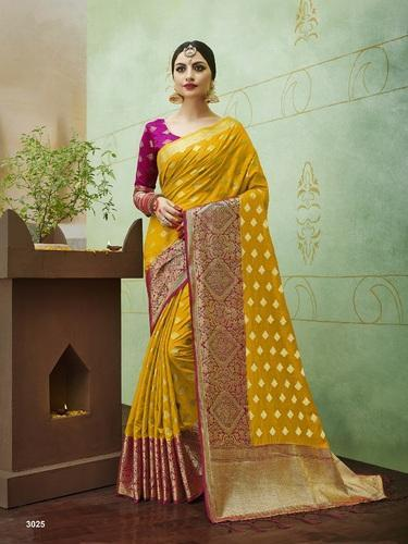 1cb4a42692890 Yellow Silk Banarasi Saree
