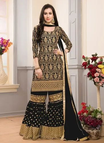 0fe1083891 Black Faux Georgette Heavy Work Wedding Sharara Suits, Rs 2465 ...