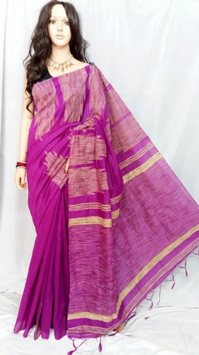 6.3 m (with blouse piece) cotton silk gheecha temple handloom saree, hand weaved