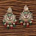 Green Indo Western Chand Earring With 2 Tone Plating 90842