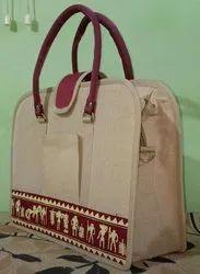 Beige Printed Jute Laptop Bag, Packaging Type: Packet