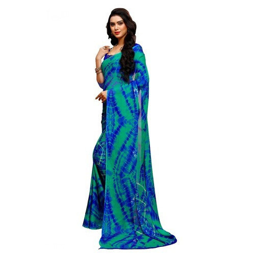 6af9a08d2bb Silk Printed Multicolour Bandhani Saree With Blouse Piece
